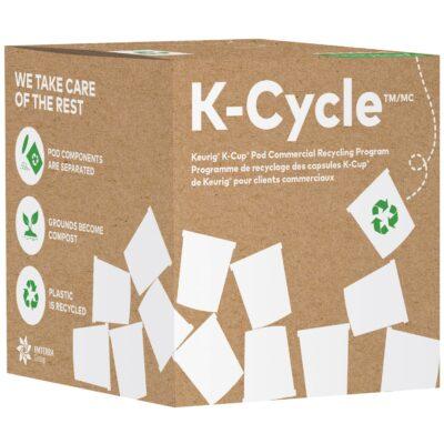 Boîte K-Cycle du programme de recyclage de capsules K-Cup de Keurig pour les clients commerciaux, petit format, capacité de 175